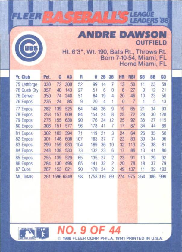 1988-Fleer-Liga-Lideres-Beisbol-Tarjeta-Recoger miniatura 17