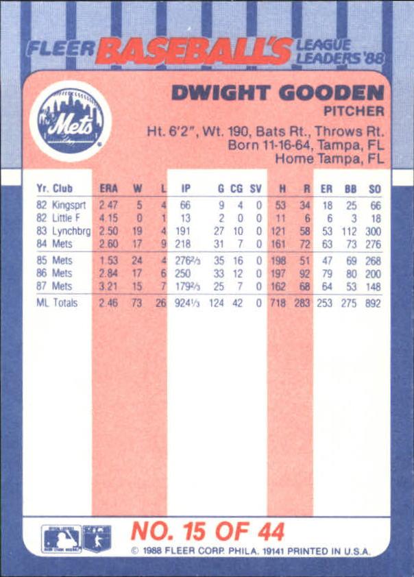 1988-Fleer-Liga-Lideres-Beisbol-Tarjeta-Recoger miniatura 29