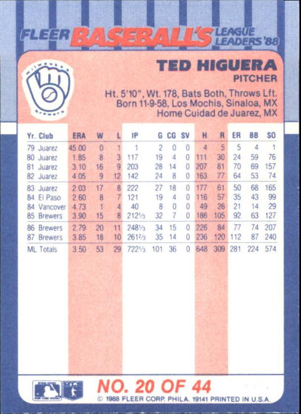 1988-Fleer-Liga-Lideres-Beisbol-Tarjeta-Recoger miniatura 39