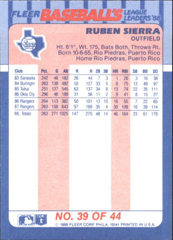 1988-Fleer-Liga-Lideres-Beisbol-Tarjeta-Recoger miniatura 77