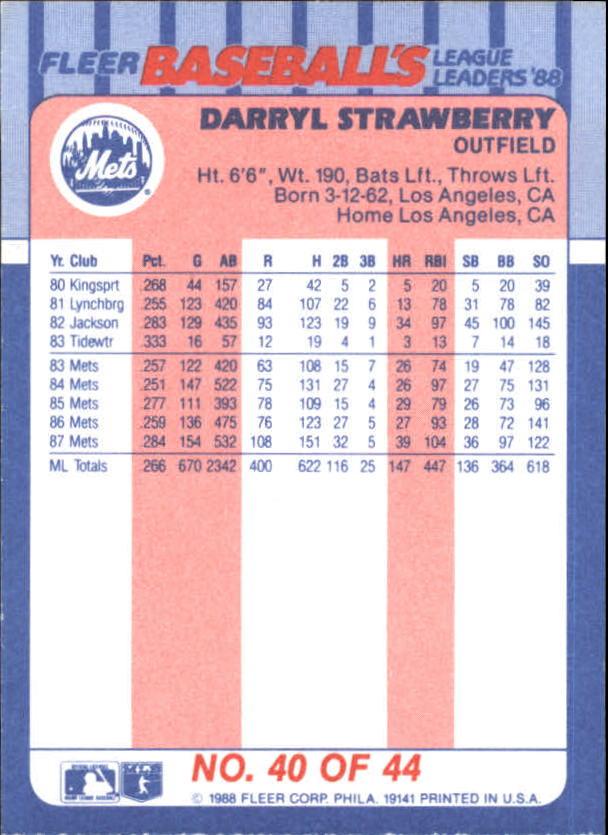 1988-Fleer-Liga-Lideres-Beisbol-Tarjeta-Recoger miniatura 79