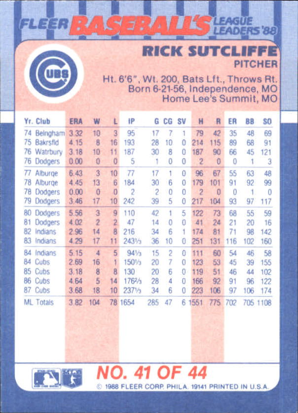 1988-Fleer-Liga-Lideres-Beisbol-Tarjeta-Recoger miniatura 81