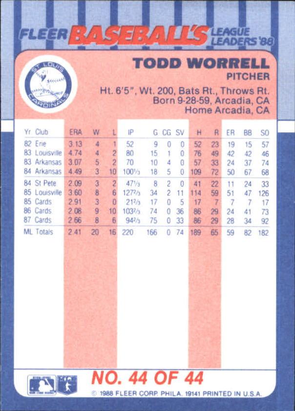 1988-Fleer-Liga-Lideres-Beisbol-Tarjeta-Recoger miniatura 87