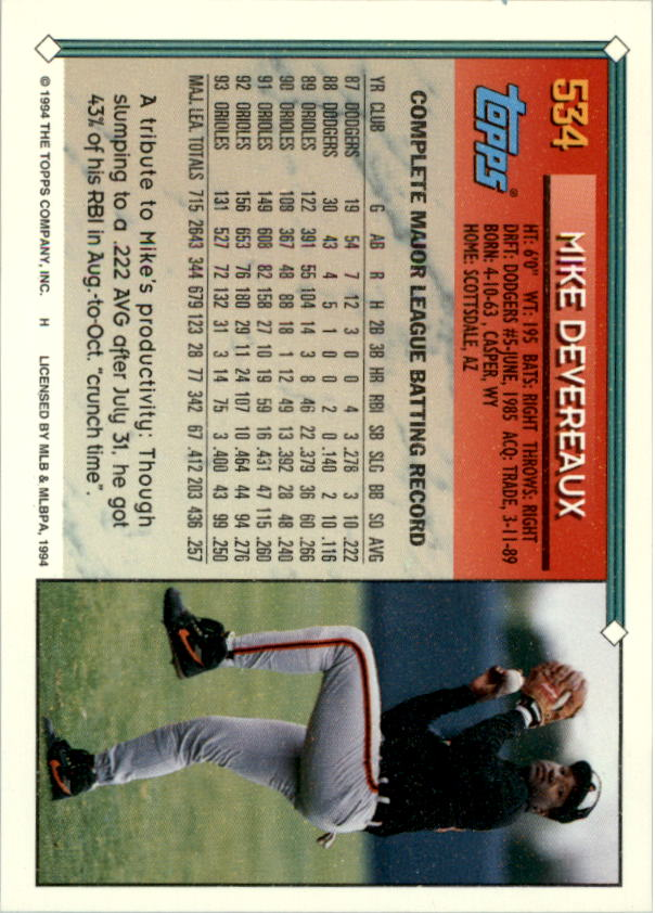 1994-Topps-Beisbol-Tarjeta-Recoger-461-792 miniatura 111