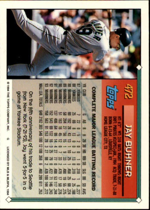 1994-Topps-Beisbol-Tarjeta-Recoger-461-792 miniatura 21