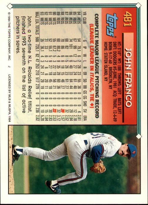 1994-Topps-Beisbol-Tarjeta-Recoger-461-792 miniatura 35