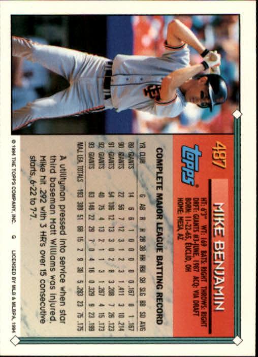 1994-Topps-Beisbol-Tarjeta-Recoger-461-792 miniatura 47