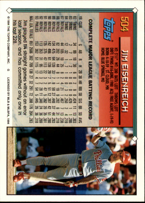 1994-Topps-Beisbol-Tarjeta-Recoger-461-792 miniatura 69
