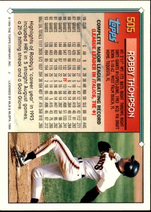 1994-Topps-Beisbol-Tarjeta-Recoger-461-792 miniatura 71