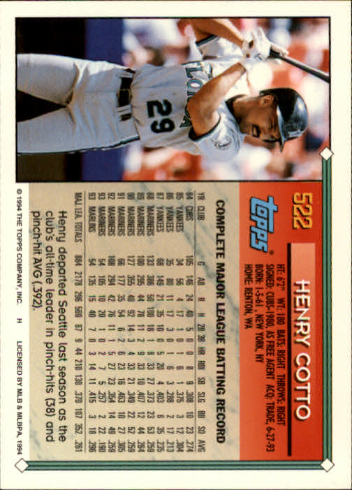 1994-Topps-Beisbol-Tarjeta-Recoger-461-792 miniatura 97