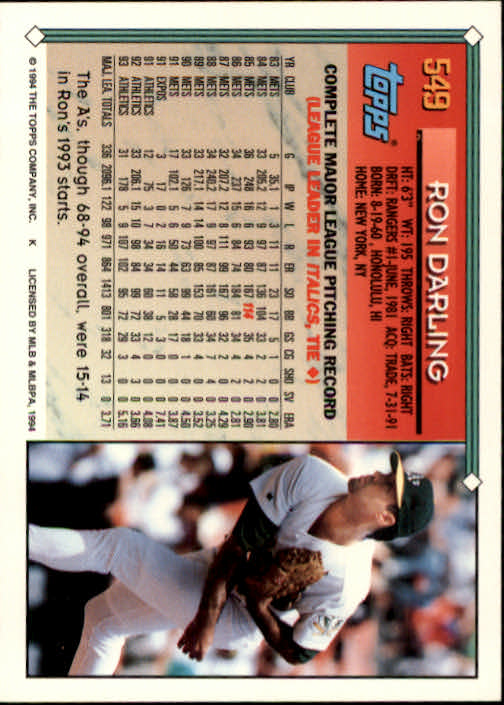1994-Topps-Beisbol-Tarjeta-Recoger-461-792 miniatura 135
