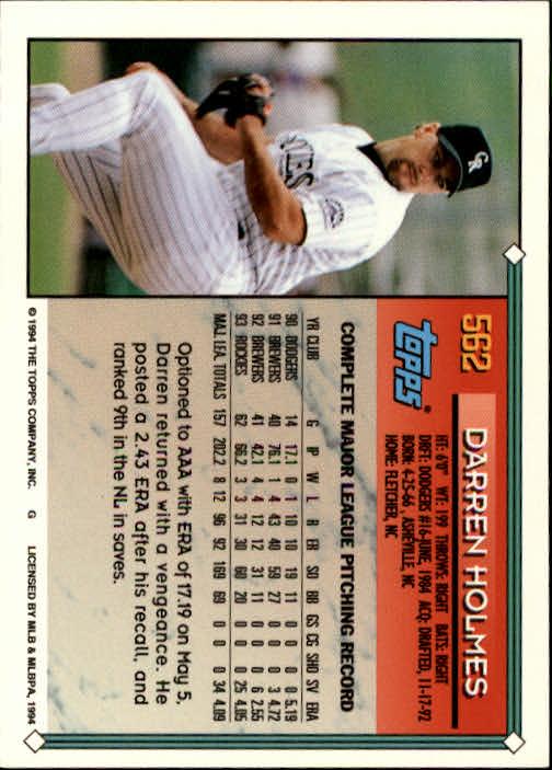 1994-Topps-Beisbol-Tarjeta-Recoger-461-792 miniatura 158