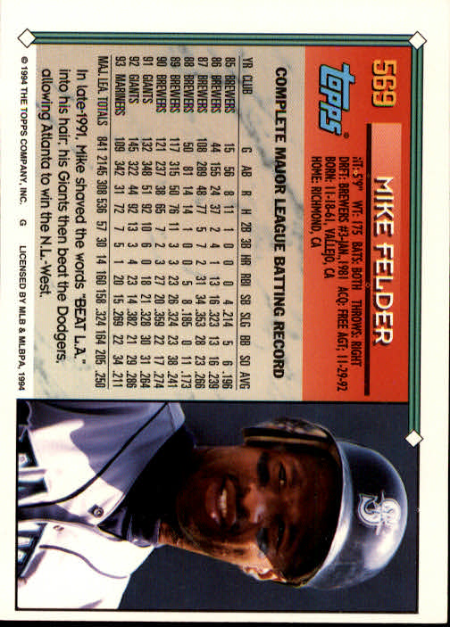 1994-Topps-Beisbol-Tarjeta-Recoger-461-792 miniatura 170