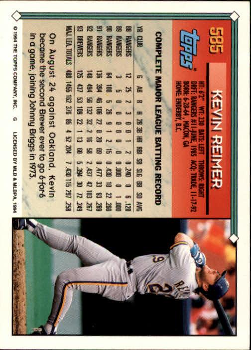 1994-Topps-Beisbol-Tarjeta-Recoger-461-792 miniatura 196