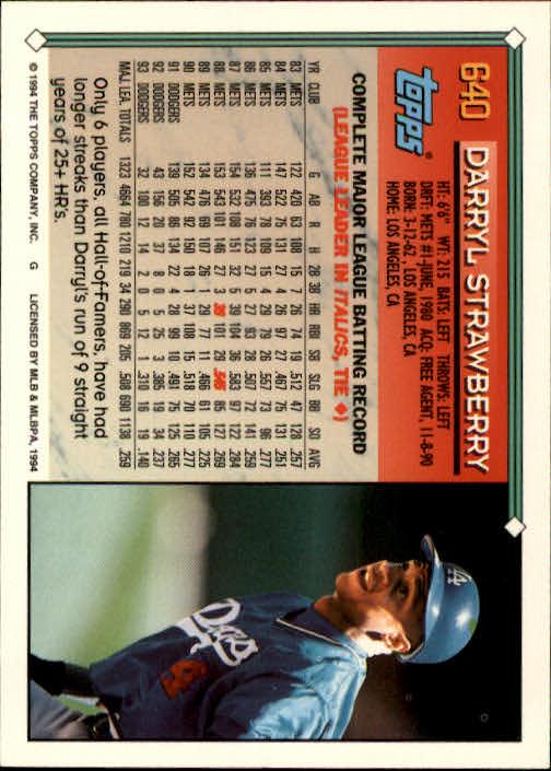 1994-Topps-Beisbol-Tarjeta-Recoger-461-792 miniatura 276