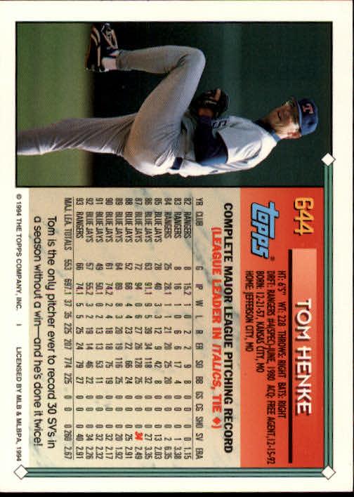 1994-Topps-Beisbol-Tarjeta-Recoger-461-792 miniatura 284