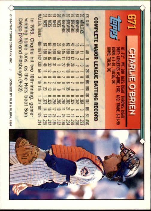 1994-Topps-Beisbol-Tarjeta-Recoger-461-792 miniatura 334