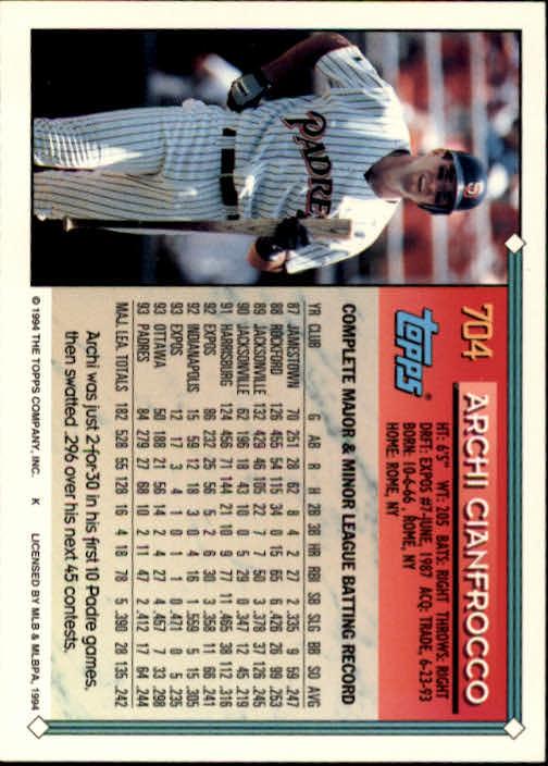 1994-Topps-Beisbol-Tarjeta-Recoger-461-792 miniatura 376