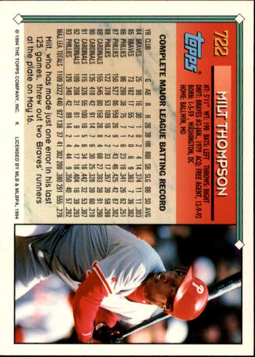 1994-Topps-Beisbol-Tarjeta-Recoger-461-792 miniatura 399