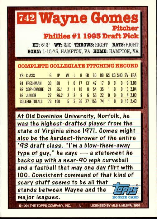 1994-Topps-Beisbol-Tarjeta-Recoger-461-792 miniatura 423