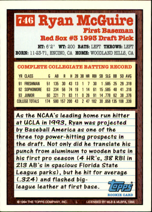 1994-Topps-Beisbol-Tarjeta-Recoger-461-792 miniatura 427