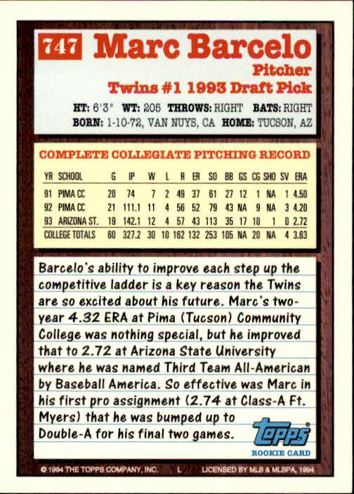 1994-Topps-Beisbol-Tarjeta-Recoger-461-792 miniatura 429