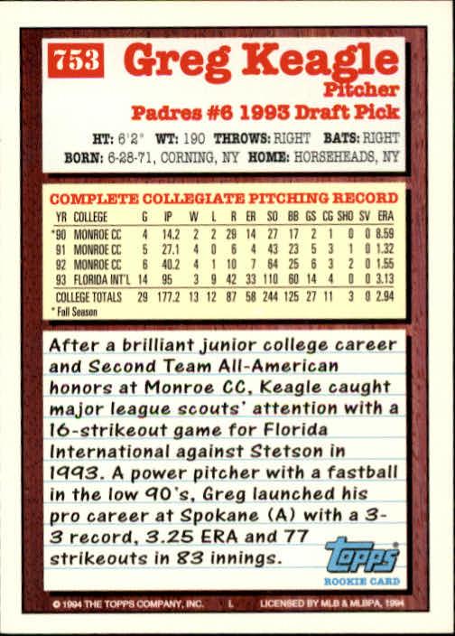 1994-Topps-Beisbol-Tarjeta-Recoger-461-792 miniatura 433