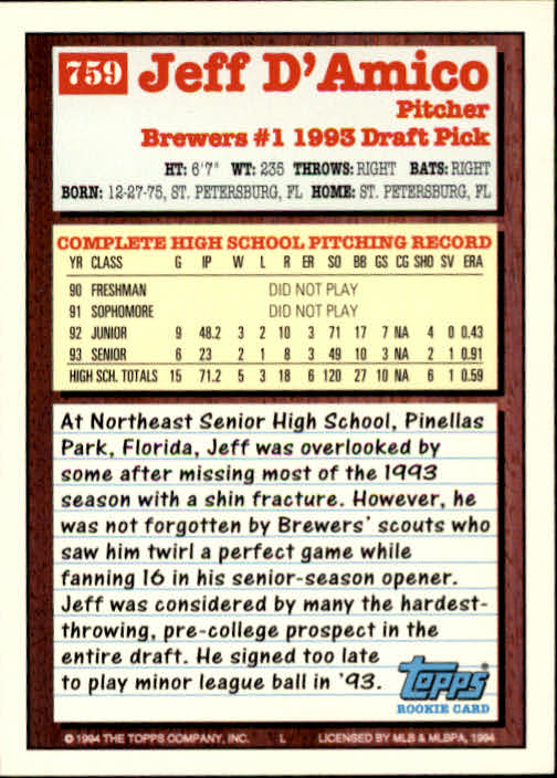 1994-Topps-Beisbol-Tarjeta-Recoger-461-792 miniatura 439