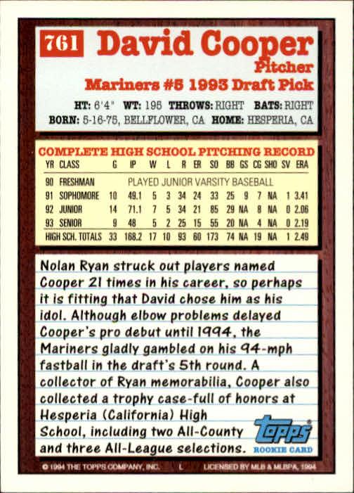 1994-Topps-Beisbol-Tarjeta-Recoger-461-792 miniatura 443