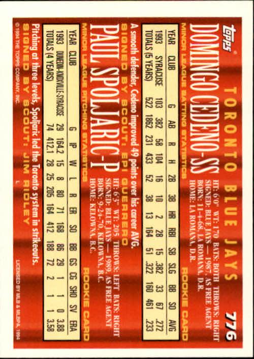1994-Topps-Beisbol-Tarjeta-Recoger-461-792 miniatura 463