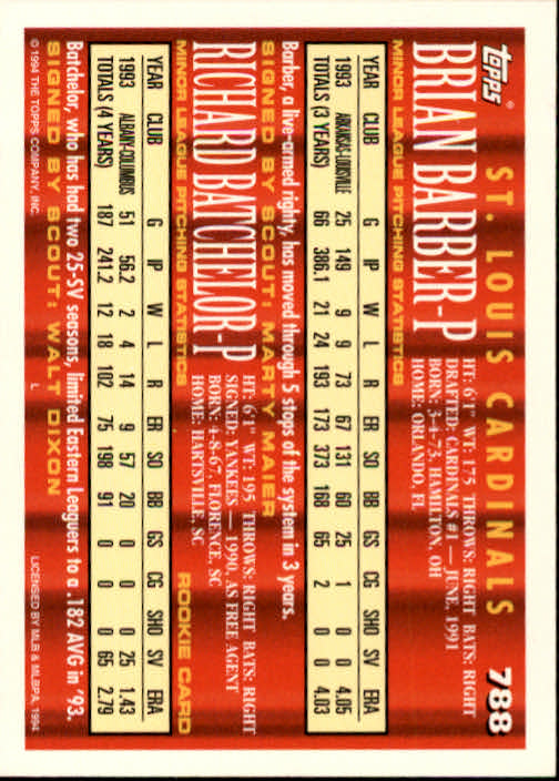 1994-Topps-Beisbol-Tarjeta-Recoger-461-792 miniatura 483