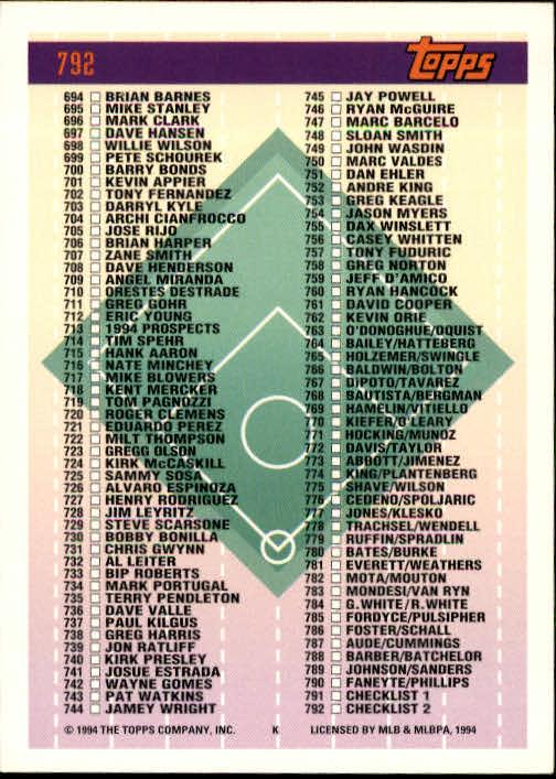 1994-Topps-Beisbol-Tarjeta-Recoger-461-792 miniatura 491