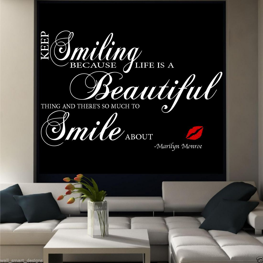 Marilyn Monroe Smile Room wall art quote sticker mural ...