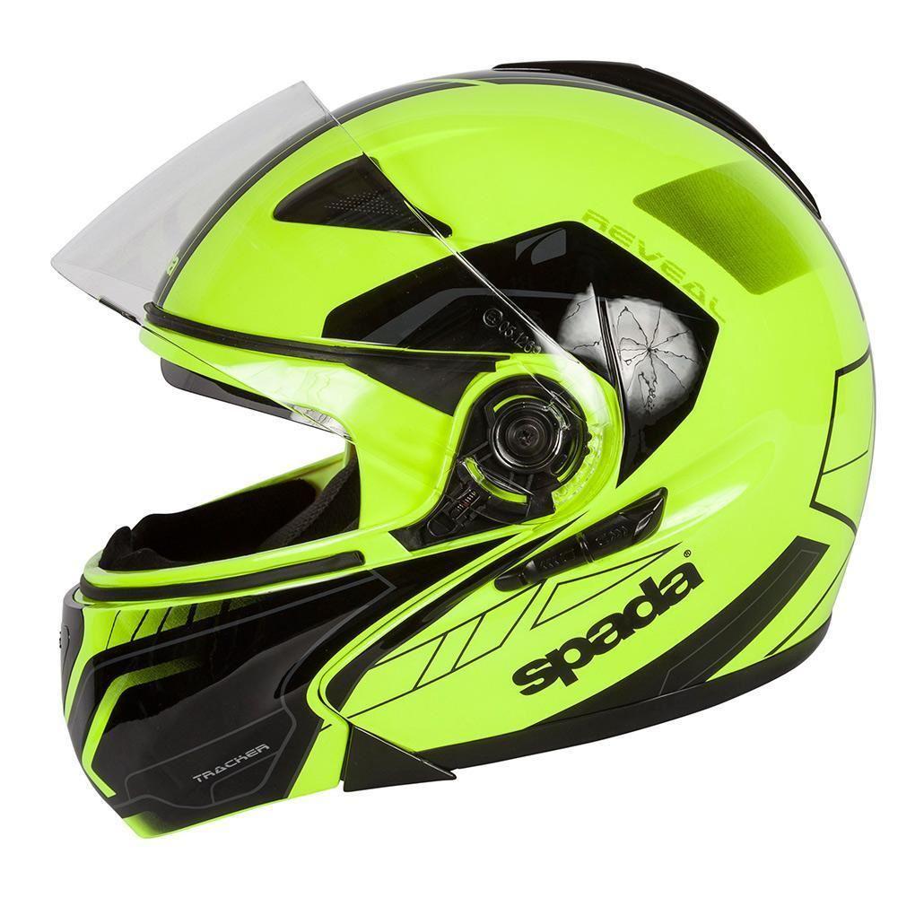 Spada-Reveal-Tracker-Casque-Moto-avant-Basculable-Jaune-Fluo-Noir miniature 14