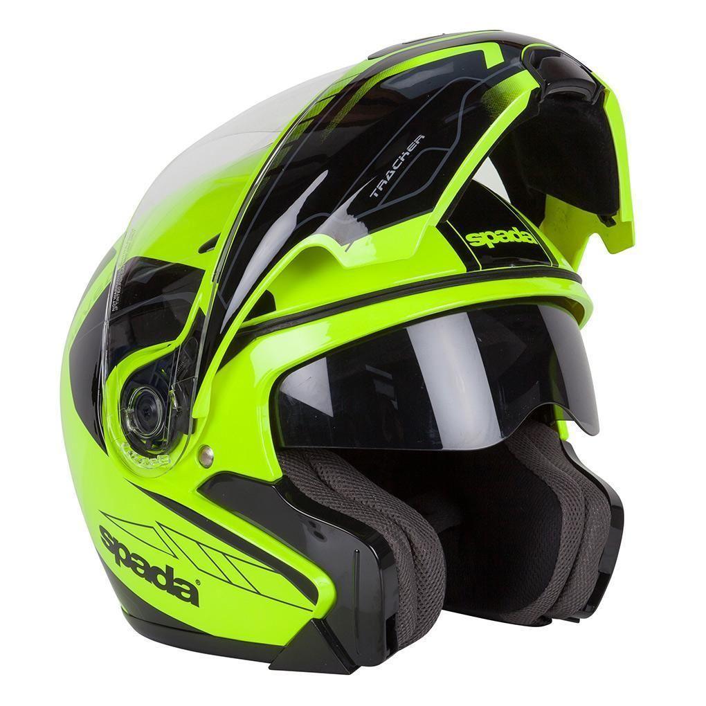 Spada-Reveal-Tracker-Casque-Moto-avant-Basculable-Jaune-Fluo-Noir miniature 12