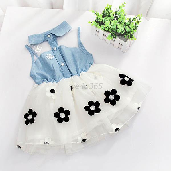 bebe-nino-nina-princesa-vestido-flor-Vaqueros-sin-mangas-Camisa-tul-falda-tutu