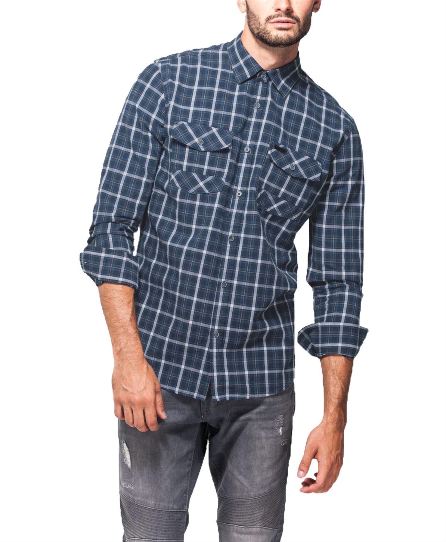 Hombre-Point-Zero-100-Algodon-Camisa-de-cuadros-manga-larga-top-casual-Talla