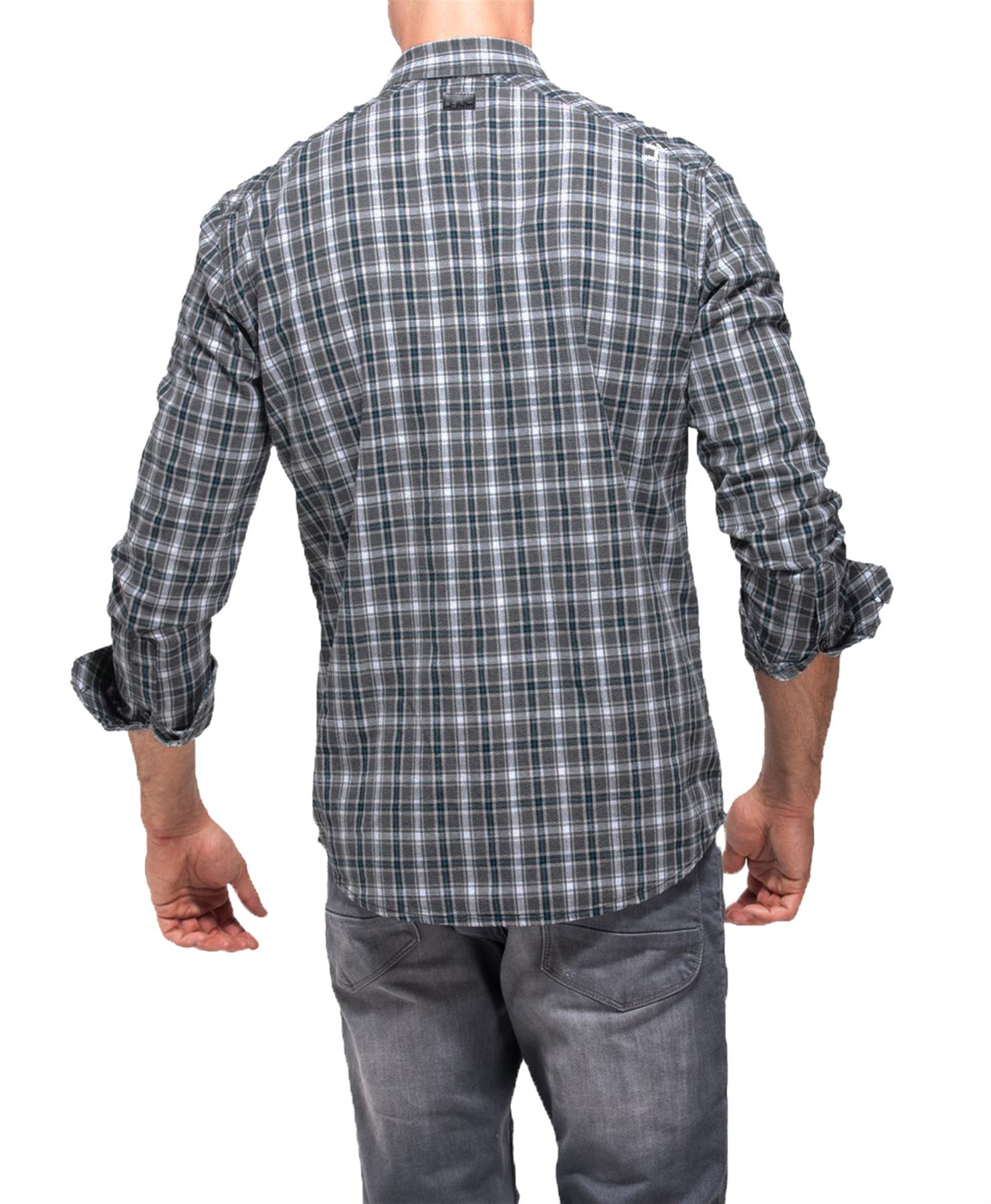 Hombre-Point-Zero-100-Algodon-Camisa-de-cuadros-manga-larga-top-casual-Talla