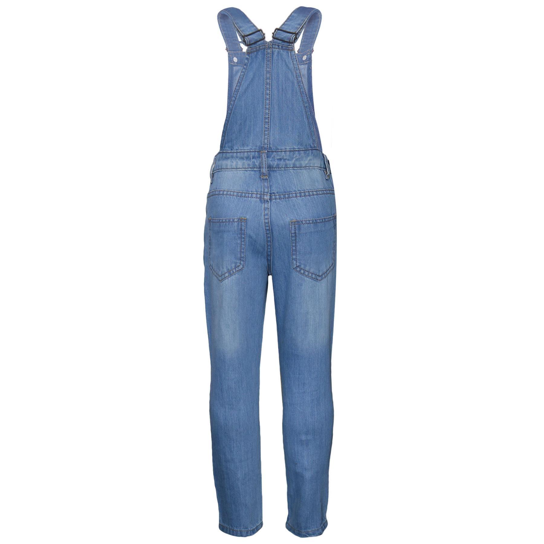 Indexbild 3 - Kinder Mädchen Denim Latzhose Zerrissen Hellblau Jeans Overall Mode Overall 5-13