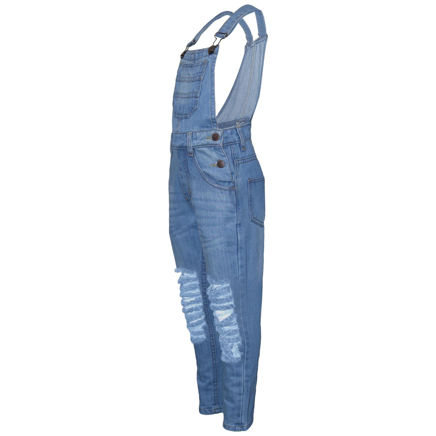 Indexbild 4 - Kinder Mädchen Denim Latzhose Zerrissen Hellblau Jeans Overall Mode Overall 5-13