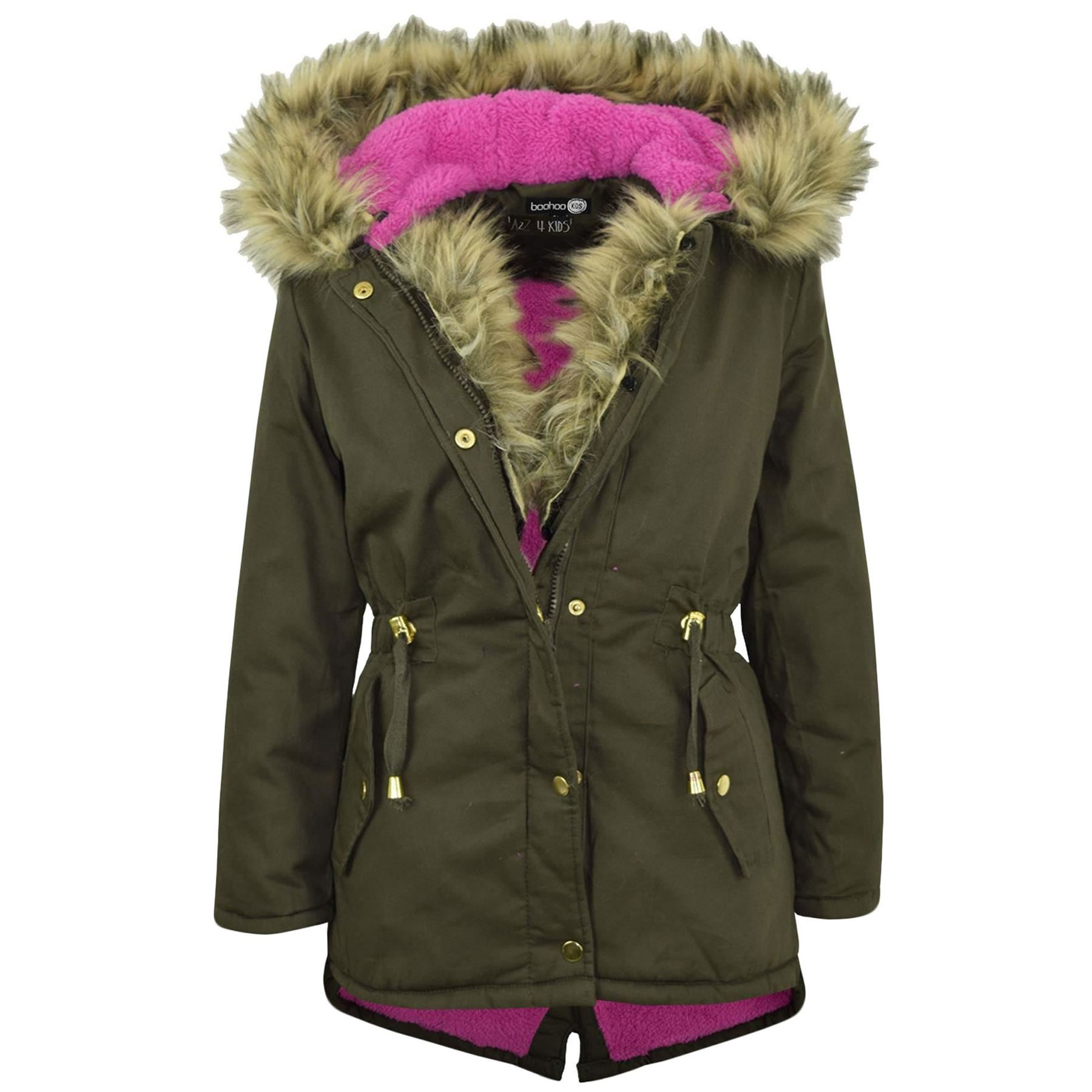 Kids Hooded Jacket Girls Rainbow Fur Parka School Jackets Outwear Coat 2-13 Year