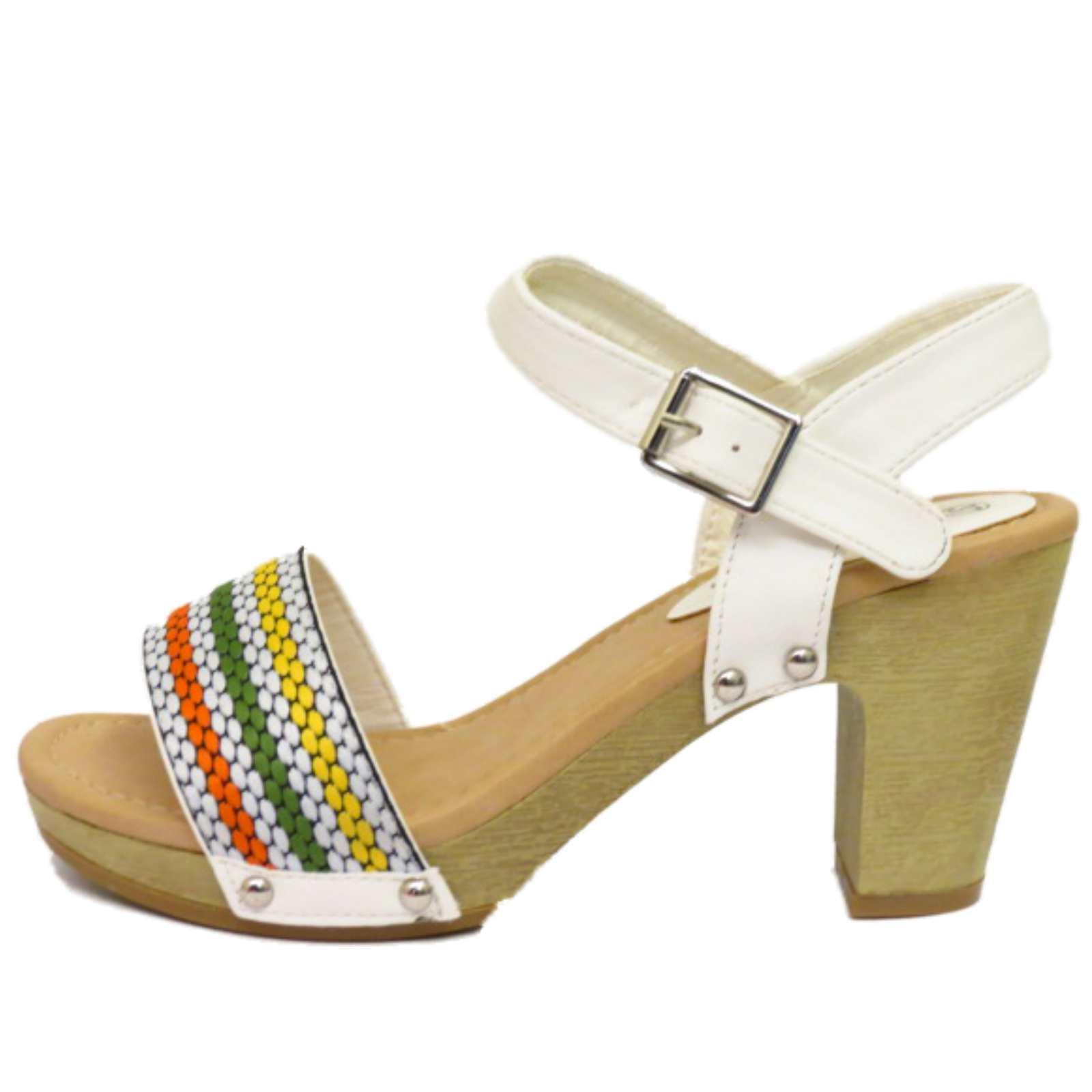 Mujer Blanco Sin Cordones Punta Abierta Tacón De Bloque Tira en Tobillo Zapatos