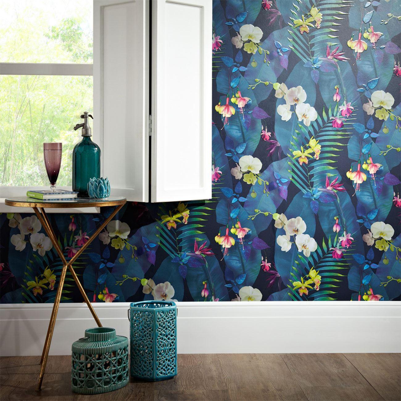 Teal Wall Decor Girls Chic Wallpaper Kids Bedroom Feature Wall Decor Various