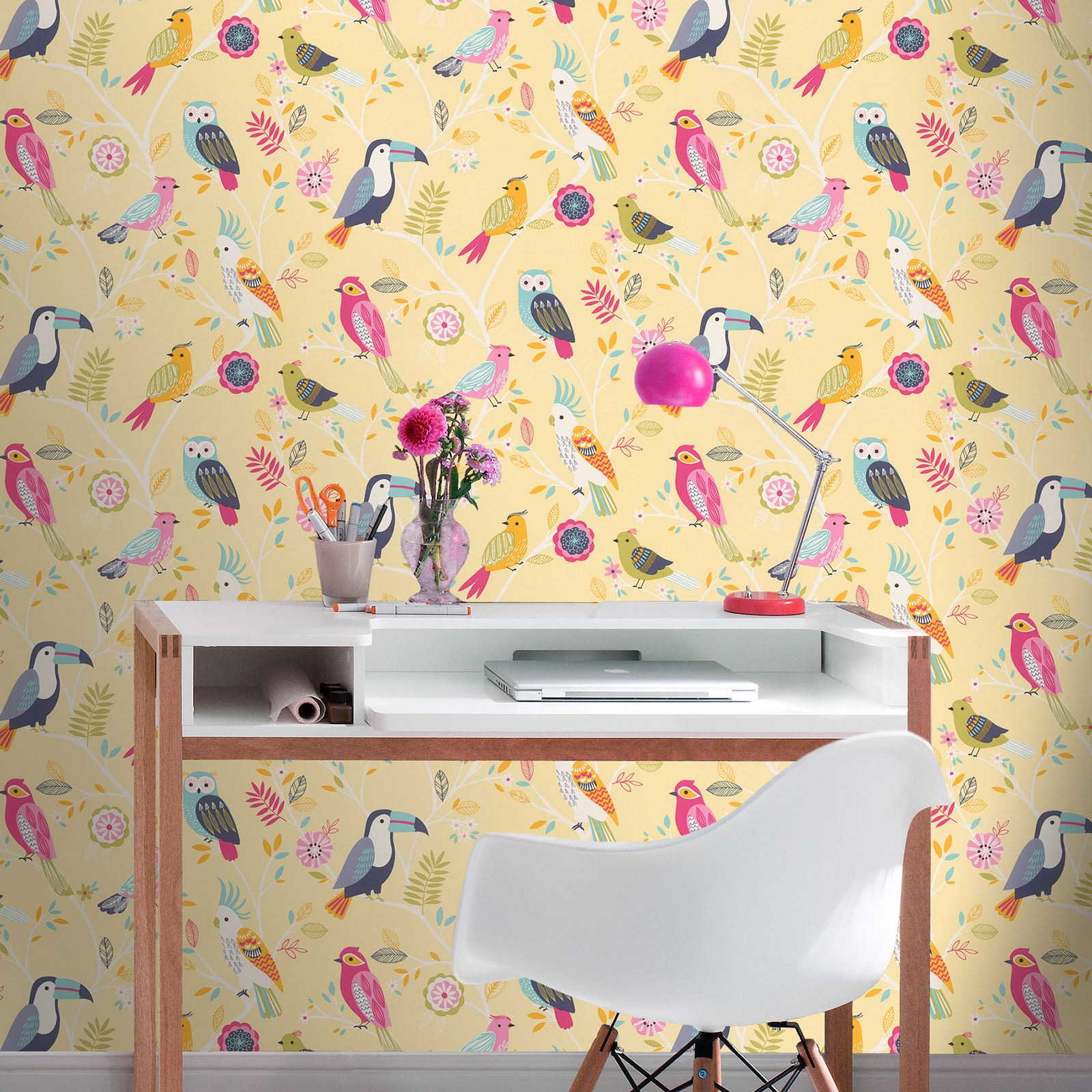 GIRLS CHIC WALLPAPER KIDS BEDROOM FEATURE WALL DECOR VARIOUS DESIGNS ...