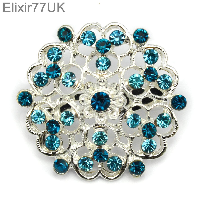 6 48 argent cristal diamant broche fleur vente en gros nuptial mariage lot ebay. Black Bedroom Furniture Sets. Home Design Ideas