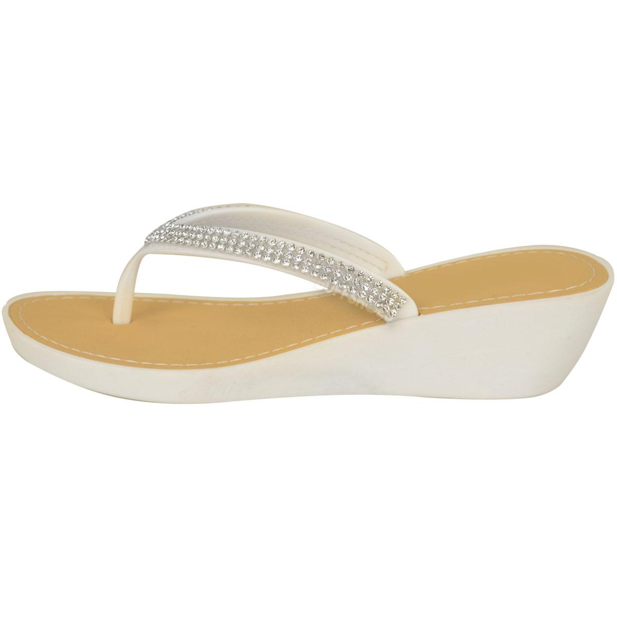 damen keilabsatz gummi sandalen niedriger absatz zehentrenner diamant zehensteg ebay. Black Bedroom Furniture Sets. Home Design Ideas