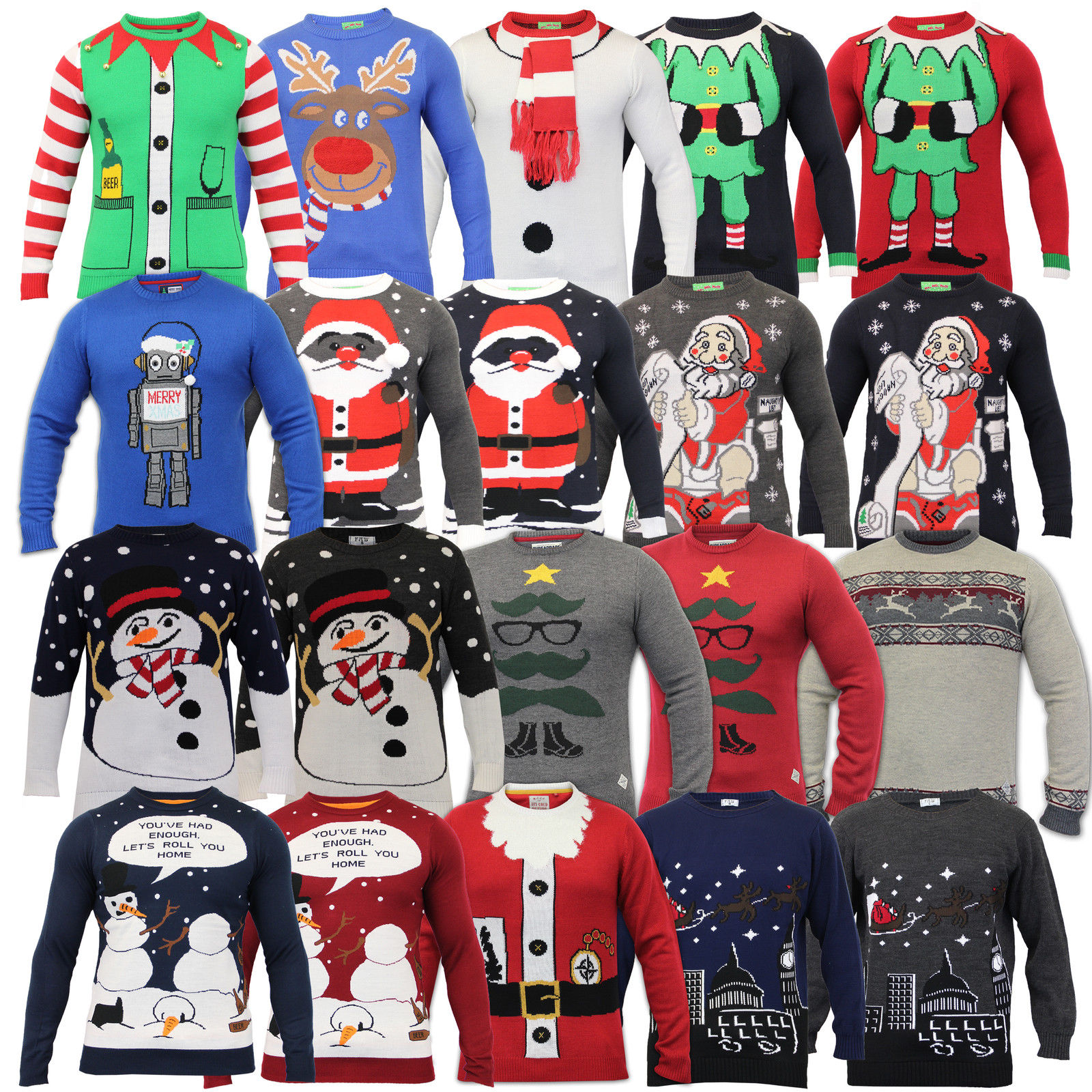8ddc5f415 Buy Mens Christmas Jumper Threadbare Xmas Knitted Snowman Santa ...