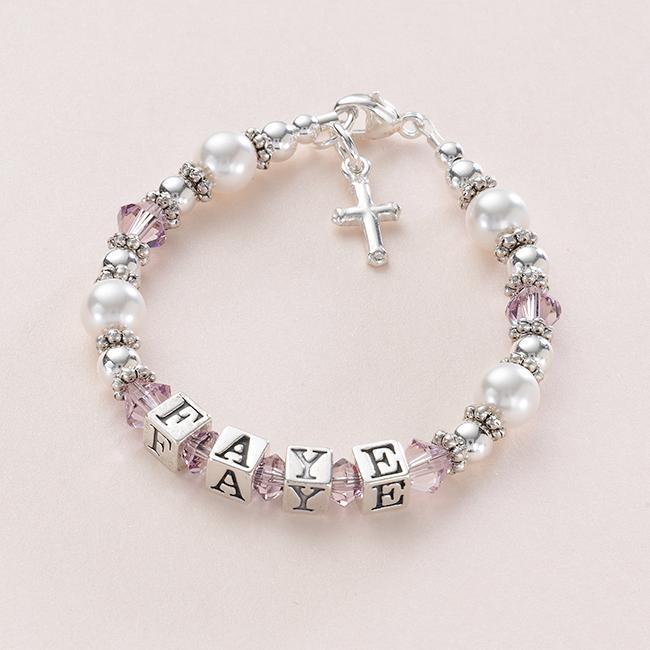 argent sterling nom bracelet avec cross breloque filles bapt me bijoux cadeau ebay. Black Bedroom Furniture Sets. Home Design Ideas