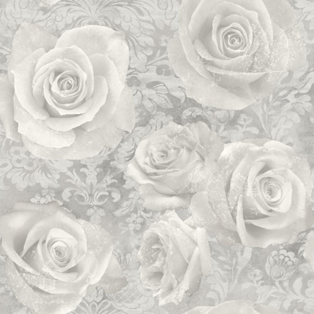 Arthouse Opera Reverie Rose Wallpaper Floral Damask Silver Grey