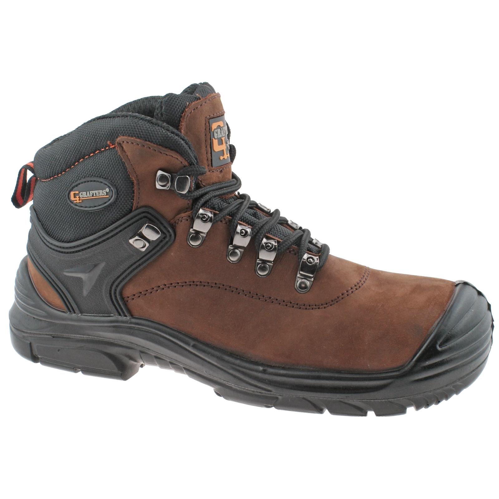 Grafters-Hombre-Cuero-Marron-Impermeable-Corte-Ancho-Cordones-Botas-Seguridad